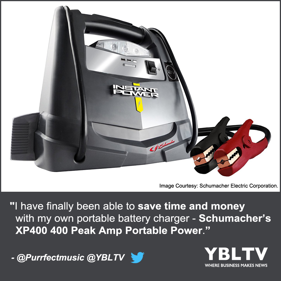 """""""I have finally been able to save time and money with my own portable battery charger Schumacher's XP400 400 Peak Amp Portable Power,"""" - LaMetra Miller, YBLTV Writer / Reviewer."""