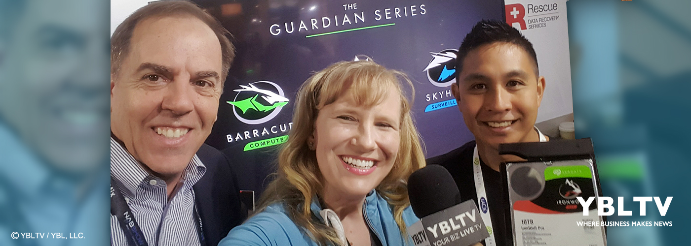 Synology America Corporation, Sales Manager, Richard Chouinard with YBLTV Anchor, Erika Blackwell and Seagate Technology LLC., Jason Bononan, Product Marketing Manager NAS HDD Segment at NAB 2017.
