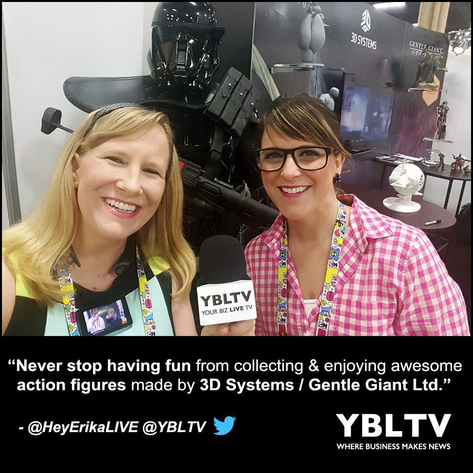 3D Systems / Gentle Giant Ltd. Director of Product Development, Ashly Powell with YBLTV Anchor, Erika Blackwell at Licensing Expo 2017.