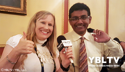 Political Commentator, Author and Filmmaker, Dinesh D'Souza with YBLTV Anchor, Erika Blackwell at Freedom Fest 2017.
