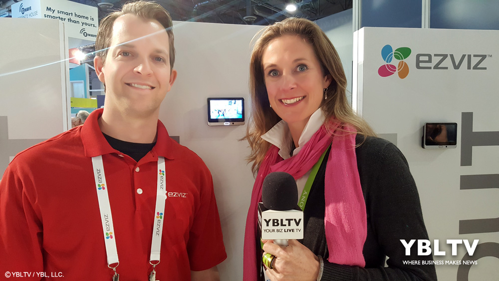 EZVIZ' Channel Marketing Manager, Zachary Erwin with YBLTV Anchor / Writer & Reviewer, Brandy Falconer at CES 2018.