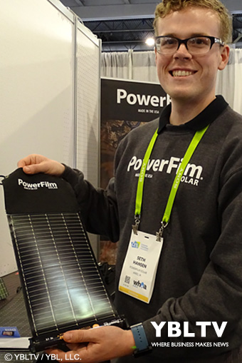 PowerFilm Solar, Mktg & Communications Mgr., Seth Hansen at CES 2018.