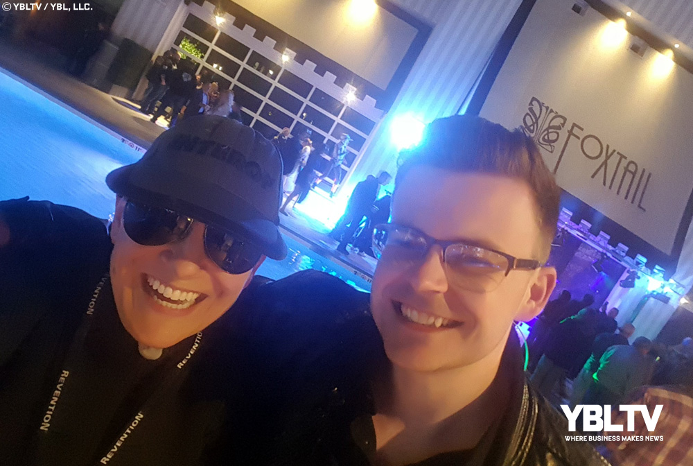 YBLTV Anchor, Erika Blackwell with Writer / Reviewer, William Fraser at the 2018 Nightclub & Bar Show, Welcome Party at Foxtail Nightclub & Pool - SLS Las Vegas.