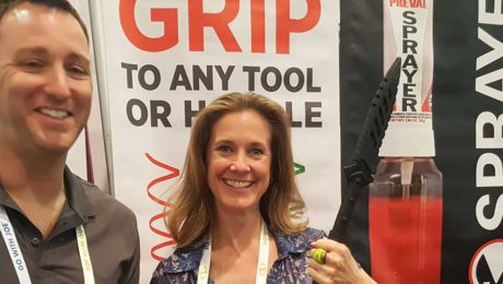 re-grip VP of National Accounts, Ryan Fogelman with YBLTV Anchor / Writer / Reviewer, Brandy Falconer at the 2018 National Hardware Show.
